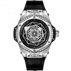 Replica Hublot Big Bang Sang Bleu Steel Diamonds Watch 465.SS.1117.VR.1204.MXM17