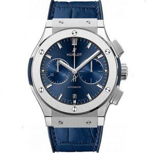 Replica Hublot Classic Fusion Blue Chronograph Titanium 45mm Watch 521.NX.7170.LR