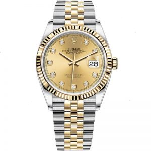 Replica Rolex Datejust 36mm Champagne Diamond Dial Fluted Bezel Watch