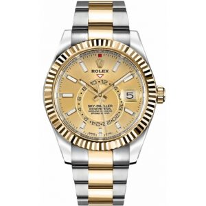 Replica Rolex Sky-Dweller Two Tone Champagne Dial 326933 Watch