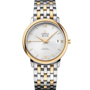 Replica Omega De Ville Prestige Two Tone 36.8mm Silver Dial Watch 424.20.37.20.02.001