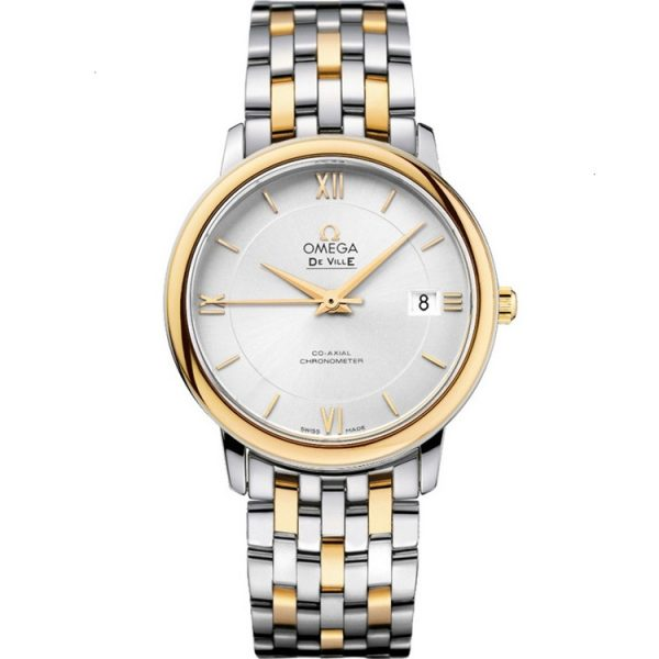 Omega De Ville Prestige Two Tone 36.8mm Silver Dial Watch 424.20.37.20.02.001