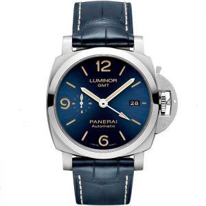 Replica Panerai Luminor GMT 44mm Blue Sun Brushed Dial PAM01033 Watch
