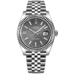 Replica Rolex Datejust 41mm Grey Dial Fluted Bezel 126334 Watch