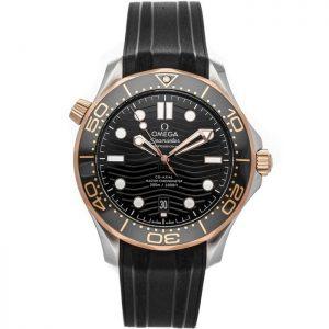 Replica Omega Seamaster Diver 300M Steel Sedna Gold Black Dial 210.22.42.20.01.002 Watch