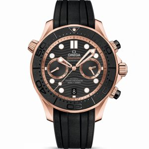 Replica Omega Seamaster Diver 300m Chronograph Rose Gold Black Dial 210.62.44.51.01.001 Watch