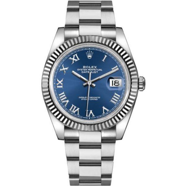Rolex Datejust 41mm Blue Roman Dial Fluted Bezel 126334 Watch