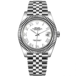 Replica Rolex Datejust 41mm White Roman Dial Fluted Bezel 126334 Watch