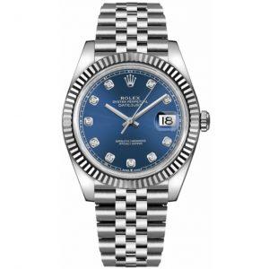 Replica Rolex Datejust 41mm Blue Diamond Dial Jubilee Bracelet 126334 Watch