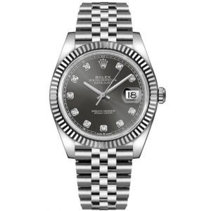 Replica Rolex Datejust 41mm Grey Diamond Dial Jubilee Bracelet 126334 Watch