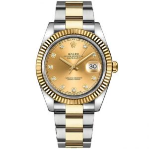 Replica Rolex Datejust 41mm Champagne Diamond Dial 126333 Watch
