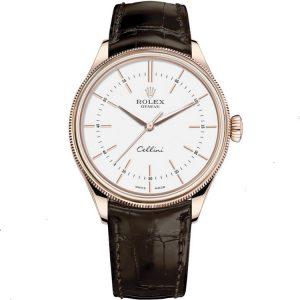 Replica Rolex Cellini Time 39mm Rose Gold White Dial 50505 Watch