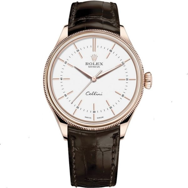 Rolex Cellini Time 39mm Rose Gold White Dial 50505 Watch