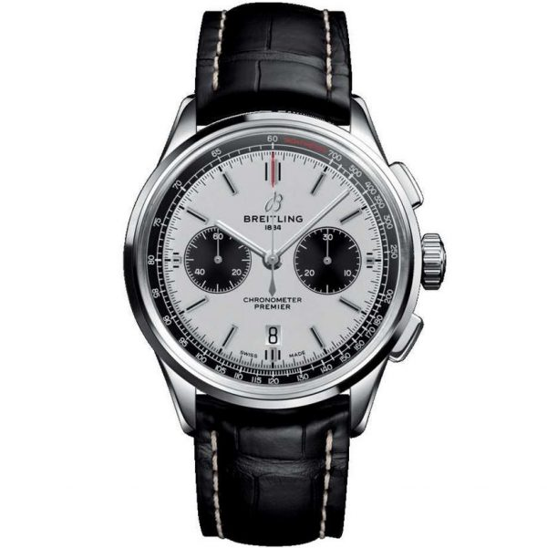 Breitling Premier B01 Chronograph 42mm Silver Dial Watch AB0118221G1P2