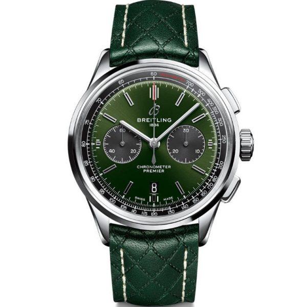 Breitling Premier B01 Chronograph 42mm Bentley British Racing Green Watch AB0118A11L1X1