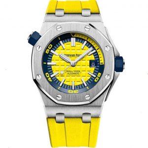 Replica Audemars Piguet Royal Oak Offshore Diver Steel Yellow Dial 15710ST.OO.A051CA.01 Watch