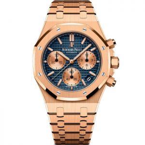 Replica Audemars Piguet Royal Oak Chronograph Rose Gold Blue Dial 26239OR.OO.1220OR.01 Watch