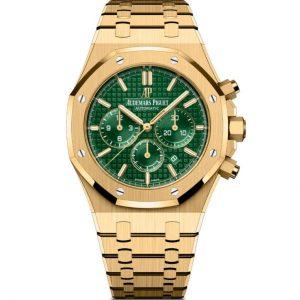Replica Audemars Piguet Royal Oak Chronograph Yellow Gold Green Dial 26331BA.OO.1220BA.02 Watch
