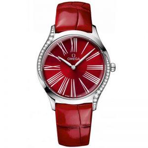 Replica Omega De Ville Trésor Red Dial Diamond Ladies Watch 428.18.36.60.11.002