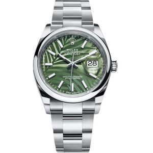 Replica Rolex Datejust 36mm Olive Green Palm Dial 126200 Watch