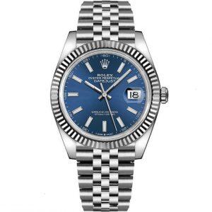 Replica Rolex Datejust 41mm Blue Dial Fluted Bezel 126334 Watch