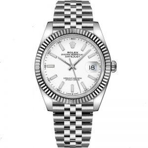 Replica Rolex Datejust 41mm White Dial Fluted Bezel 126334 Watch