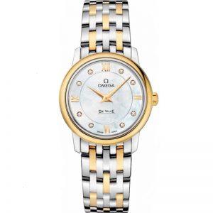 Replica Omega De Ville Prestige 27.4mm Diamond Mother of Pearl Dial Ladies Watch 424.20.27.60.55.001