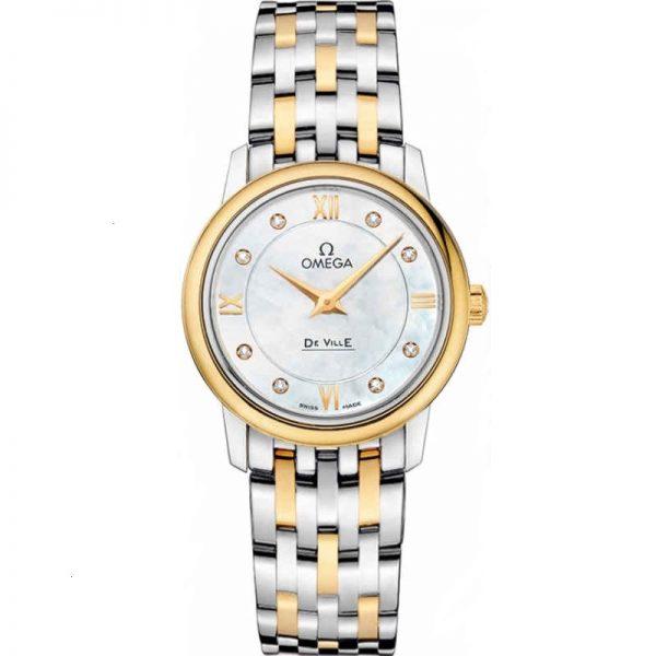Omega De Ville Prestige 27.4mm Diamond Mother of Pearl Dial Ladies Watch 424.20.27.60.55.001