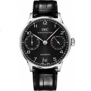 Replica IWC Portuguese 7 Day Automatic Black Dial IW500703 Watch