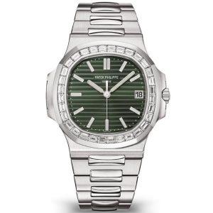 Replica Patek Philippe Nautilus Olive Green Diamonds 5711/1300A-001 Watch